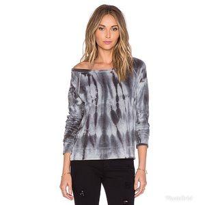 Splendid Velour Active Sweatshirt in Grey Tie Dye